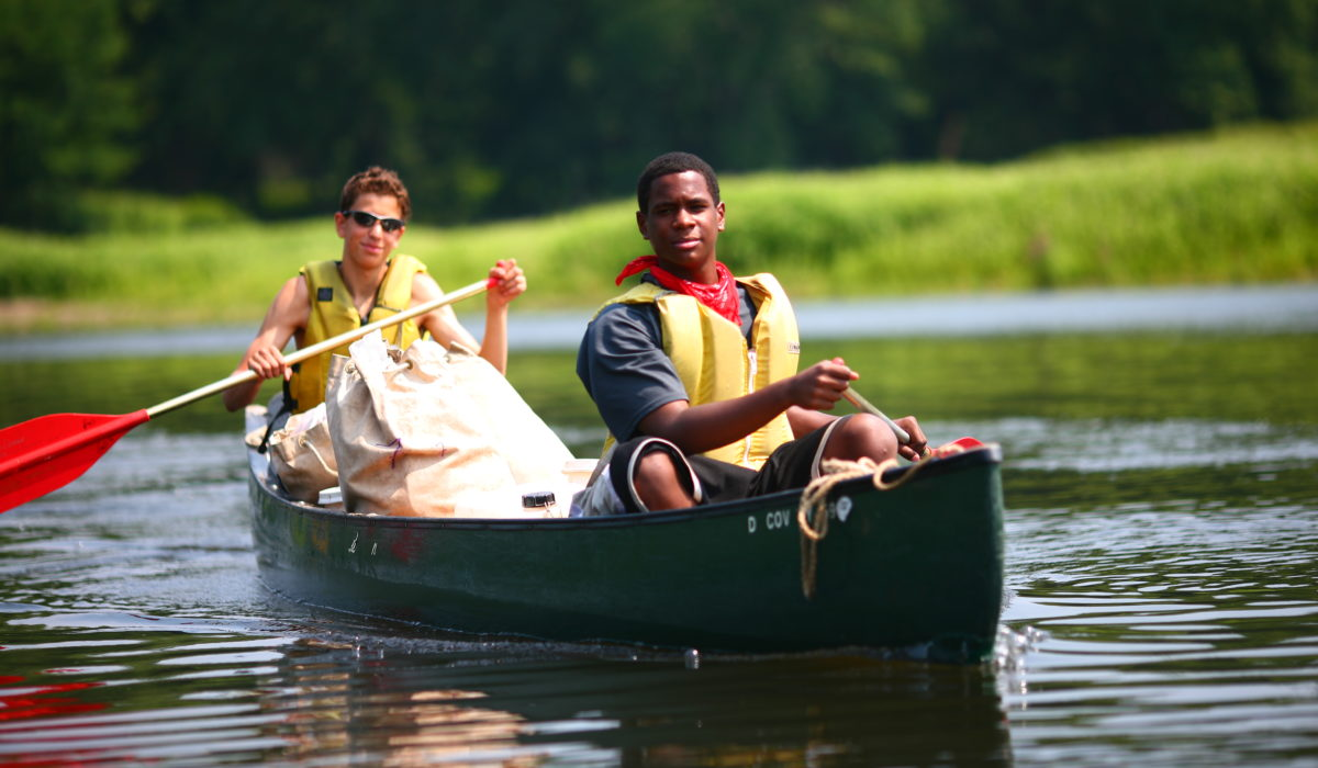 Canoe Expedition along the Potomac River on the West Virginia / Maryland border. Students from across the Mid-Atlantic experience our Character Education programs through their school or youth group, often as part of our Character Curriculum. Canoe expeditions are also offered during the summer months for individual students looking to enroll in longer adventures. Scholarships and Financial Aid are also available for many courses. See our website for more information. (© Baltimore Chesapeake Bay Outward Bound School)
